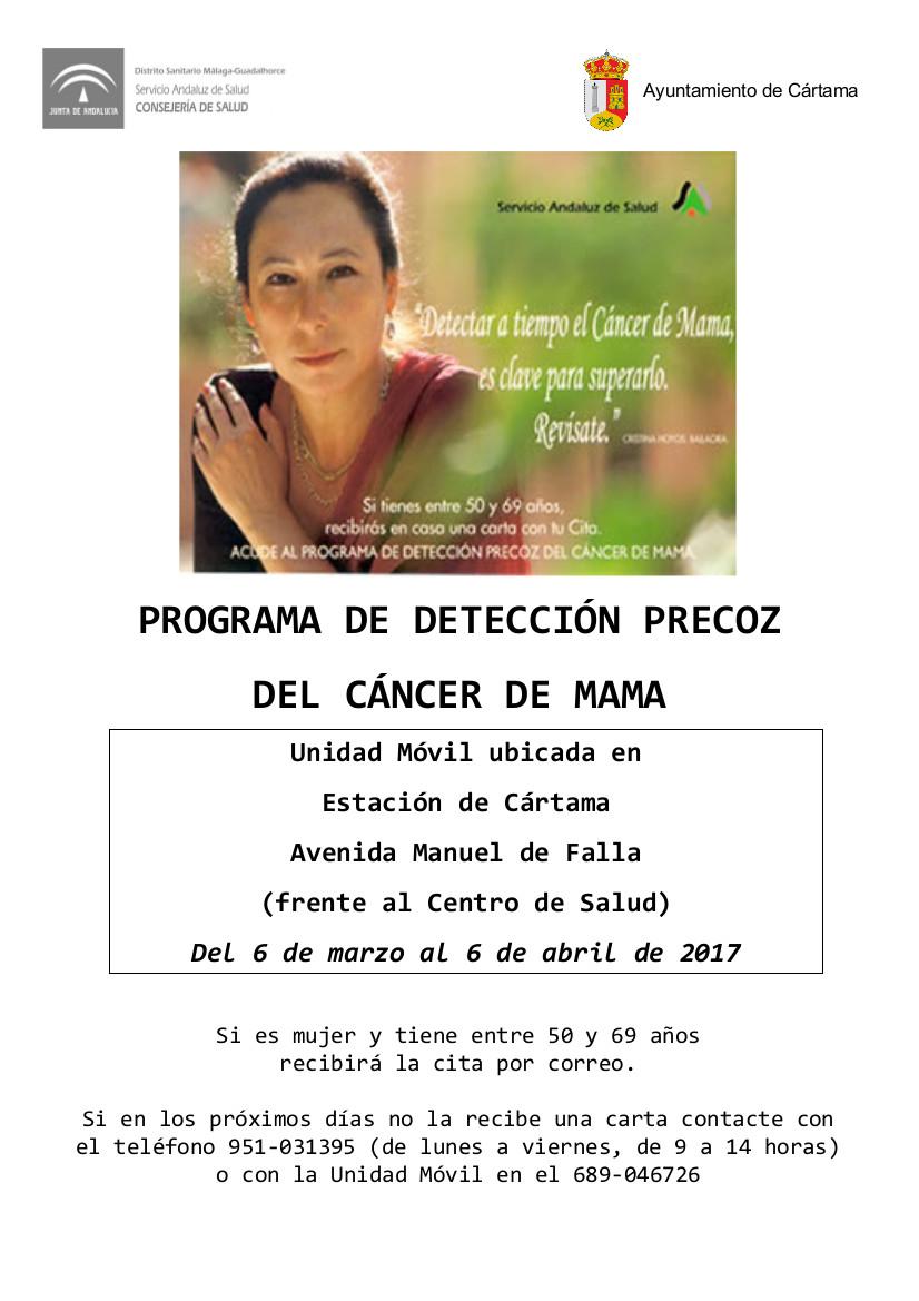 La unidad móvil del Programa de Detección Precoz del Cáncer de Mama estará en Cártama a partir del día 6 de marzo