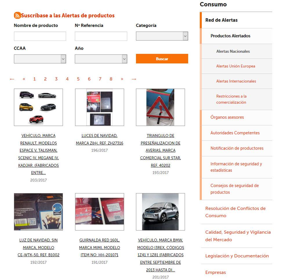 La Agencia Española de Consumo, Seguridad Alimentaria y Nutrición incluyó en su web 37 alertas sobre productos no alimenticios durante el mes de mayo